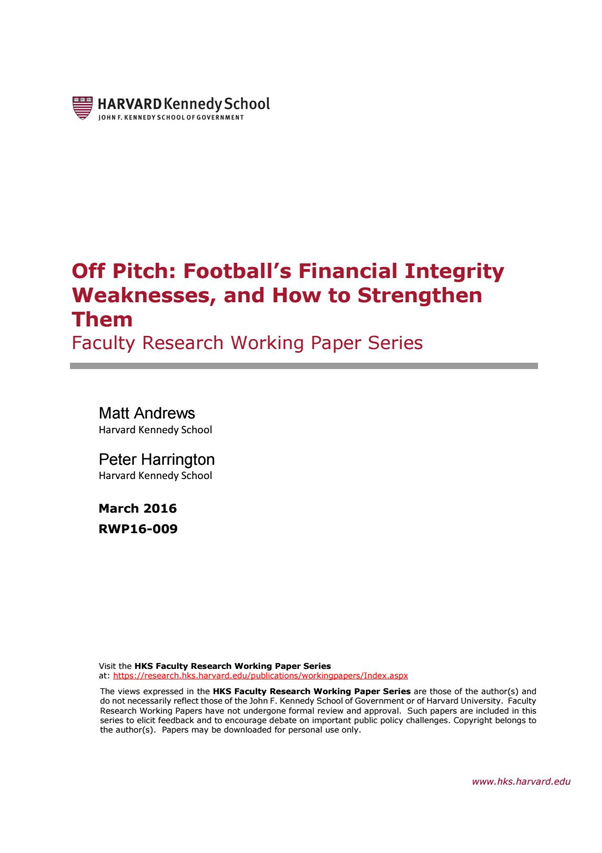 Off Pitch: Football's Financial Integrity Weaknesses, and How to Strengthen Them